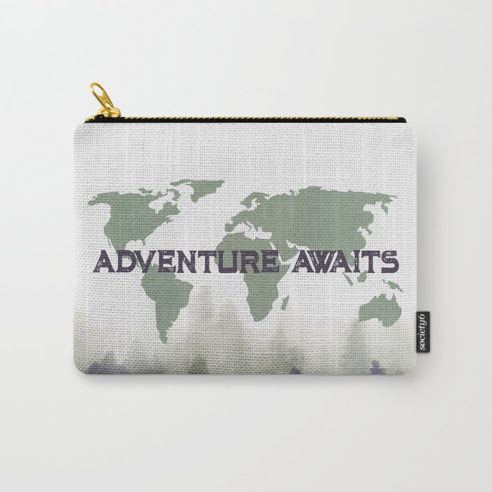 Adventure Awaits Morning Forest Green Map Carry-All Pouch