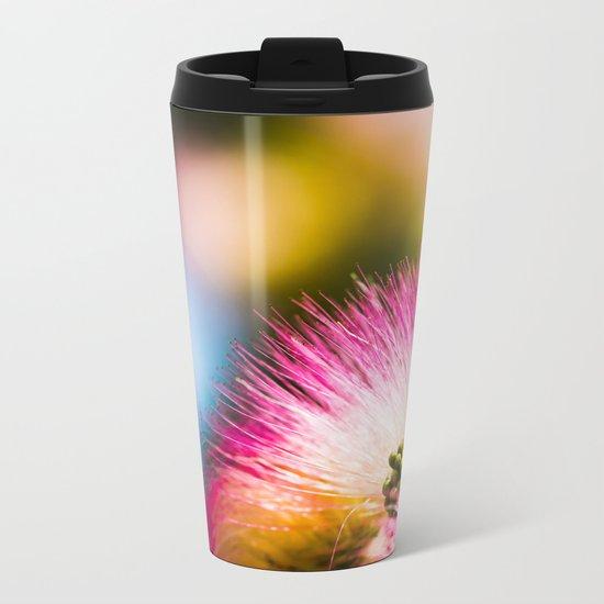Exotic summer pink silk tree mimosa Metal Travel Mug