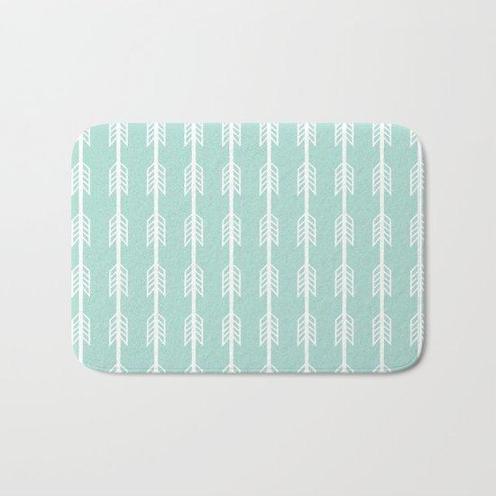 Isabella - minimal arrows mint and white modern dorm college nursery kids art Bath Mat