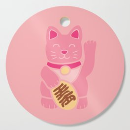 Lucky Cat in Pastel Pink Cutting Board