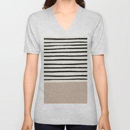 Latte & Stripes Unisex V-Neck