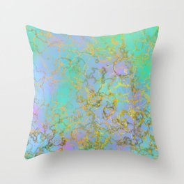 Marble pattern green blue and purple Throw Pillow