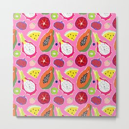 Seedy Fruits in Hot Neon Pink Metal Print