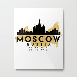 MOSCOW RUSSIA SILHOUETTE SKYLINE MAP ART Metal Print