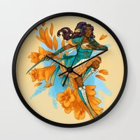 magical girl Wall Clocks featuring Magical Girl Gladiolus by Anna Landin