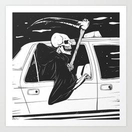Passenger taxi grim - black and white - gothic reaper Art Print