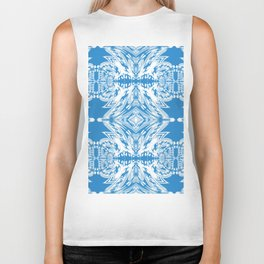 Blue and White Classy Psychedelic Biker Tank