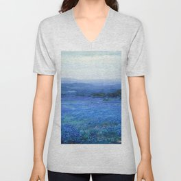 Bluebonnet Panoramic Landscape in Twilight painting by Robert Julian Onderdonk Unisex V-Neck