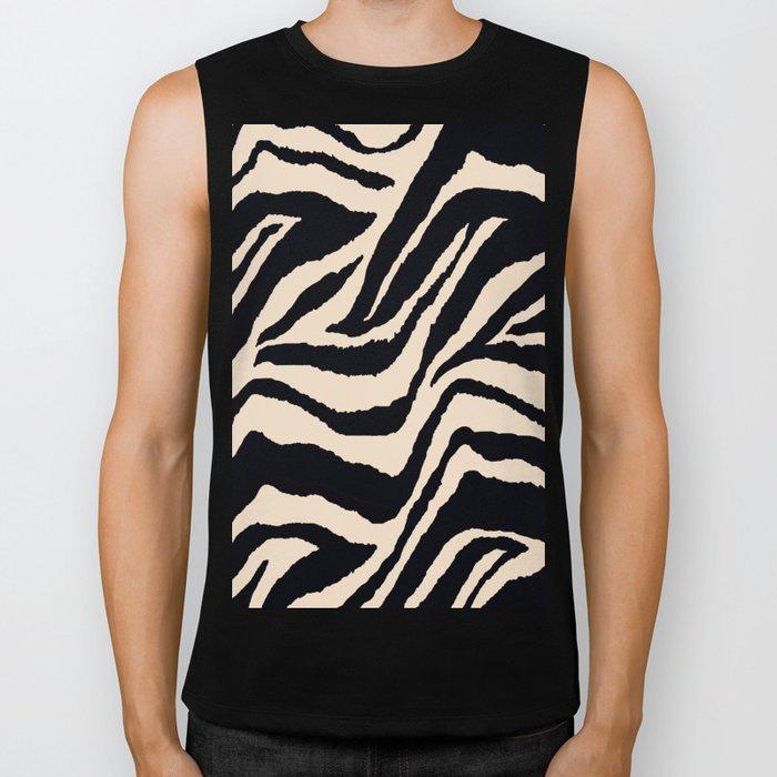 Zebra Animal Print Black and off White Pattern Biker Tank