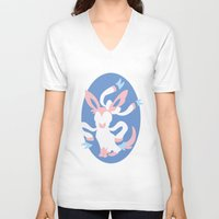 sylveon V-neck T-shirts featuring Sylveon by Polvo