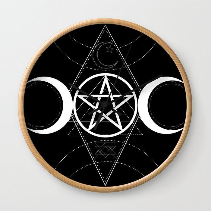 Triple Moon Pentagram Wall Clock