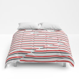 Mixed Signals Abstract - Red, Gray, Black, White Comforters