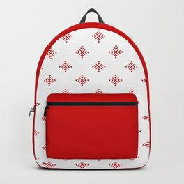 Christmas Heart Snowflakes Red & White Backpack