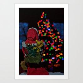 Santa looking at Christmas tree Art Print