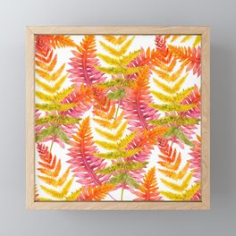 Hand painted pink orange watercolor fall fern floral Framed Mini Art Print