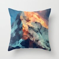 low poly Throw Pillows featuring Mountain low poly by Li9z
