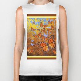 Caramel Color Monarch Butterflies Butterflies  Fantasy Abstract Biker Tank