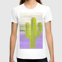 green cactus sits in front of a violet sky T-shirt