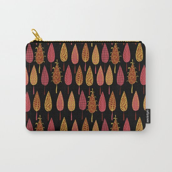 Autumn leaves on a black background . Carry-All Pouch