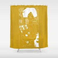 gustav klimt Shower Curtains featuring Gustav Klimt by Ian Cy