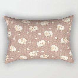 Cute Little Sheep on Brown Rectangular Pillow