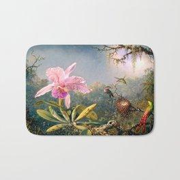 Nature's Fantasy : Cattyela Orchid and Three Brazilian Hummingbirds Bath Mat