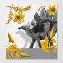 Jurassic Stegosaurus: Gold & Gray Canvas Print