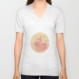Tall Ship Sailing Stormy Sea Oval Drawing Unisex V-Neck