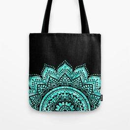 Black teal mandala Tote Bag