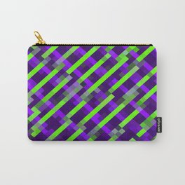 geometric pixel square pattern abstract background in purple green Carry-All Pouch