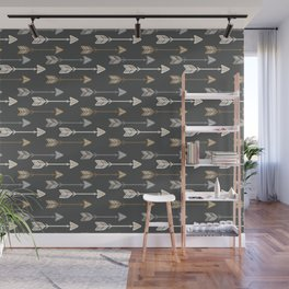 Neutral Tribal Arrows Pattern - Brown Gray Wall Mural