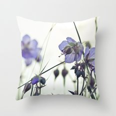 Sunlit meadow Crane's-bill Throw Pillow