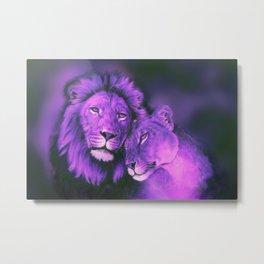 Lions Purple Metal Print