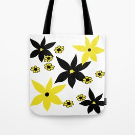 Yellow and Black Flower Tote Bag