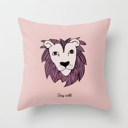 Stay wild you little lion baby nursery pink peach illustration Throw Pillow