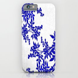 BLUE AND WHITE  TOILE LEAF iPhone Case