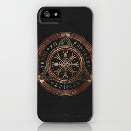 The Helm of Awe  Black and Red Leather and gold iPhone Case