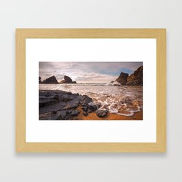 rocks water and sky Framed Art Print