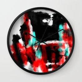 Lukewarm - Abstract, original painting in red, blue, black and white Wall Clock