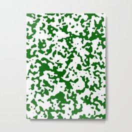 Spots - White and Dark Green Metal Print