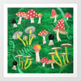 Mushroom Party Art Print