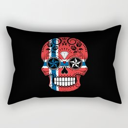 Sugar Skull with Roses and Flag of Norway Rectangular Pillow