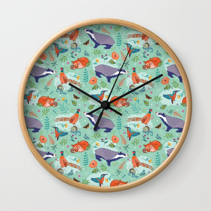 Woodland Animals on Green Wall Clock