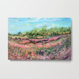 Abstract Landscape Painting, Summer Valley, Colorful Modern Home Decor Metal Print
