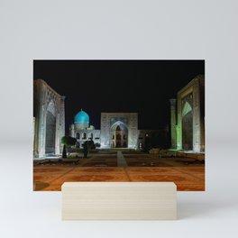 Registan square at night - Samarkand Mini Art Print