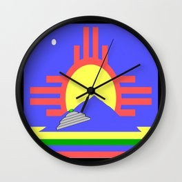 flag of Roswell with flying saucer Wall Clock
