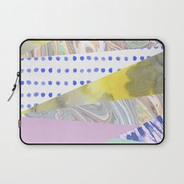 Modern geometrical pink navy blue yellow watercolor marble Laptop Sleeve