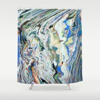 geology Shower Curtains featuring Fluctuating Geology by Christina Stavers