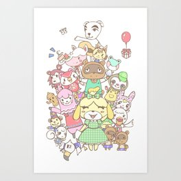 Animal Crossing mashup (white) Art Print