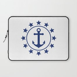 Navy Blue Anchors and Stars Nautical Pattern Laptop Sleeve